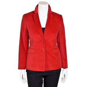 Escada Sport Red Velvet 2-Button Jacket